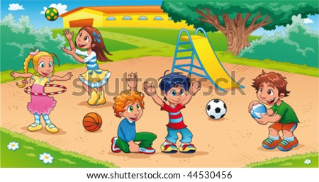 Kids in the playground. Funny cartoon and vector scene. - stock vector