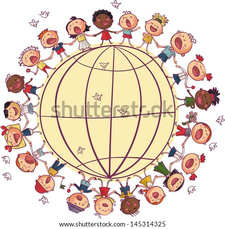 Kids is dancing and singing in circle around world - stock vector