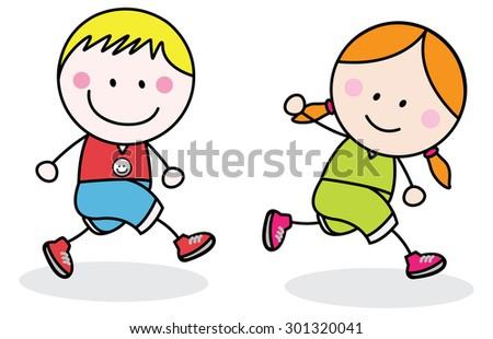 Kids jogging - stock vector