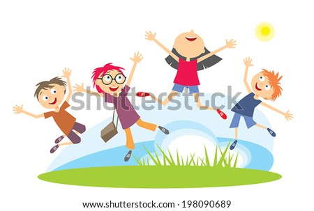 Kids Jumping - stock vector