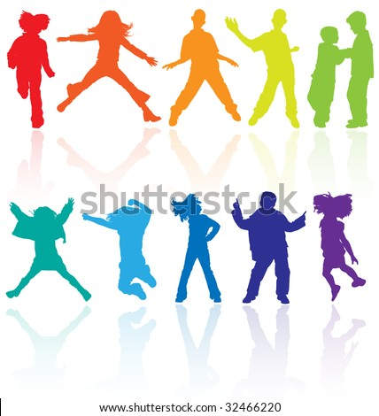 Kids Kid Dance Dancing Silhouette Child Children Girl Boy Group Teenage Teenager Teen Active Isolated Colourful