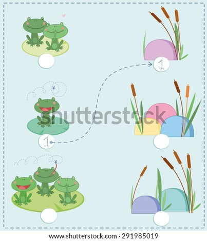 Kids learning material.. printable number three card with an illustration of frogs