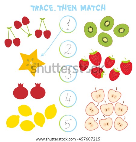 Kids learning number material 1 to 5. Trace. Then match. Cartoon Illustration of Education Counting Game for Preschool Children, cherry strawberry carambola kiwi apple pomegranate lemon. Vector - stock vector