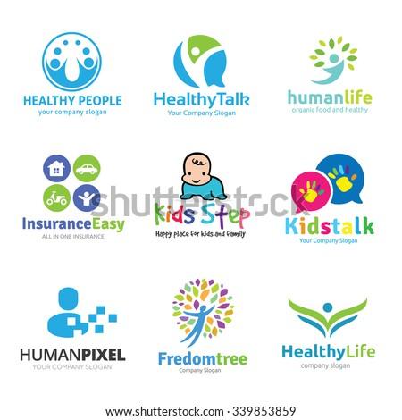 Kids logo collection,fitness logo,human logo,healthy logo,insurance logo,people logo collection. - stock vector