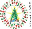 Kids Love Christmas World 2. 32 Different Children representing different countries around the Christmas Tree. - stock photo