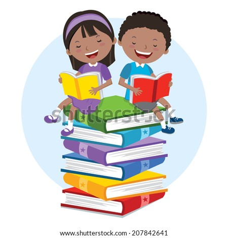 Kids love to read books. Children sitting on multicolor books, they are enjoying reading.  - stock vector