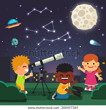 Kids making telescope astronomical observations of star constellations in the starry night with full moon, comet and ufo. Flat style cartoon isolated vector illustration.