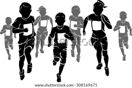 Kids Marathon - stock vector