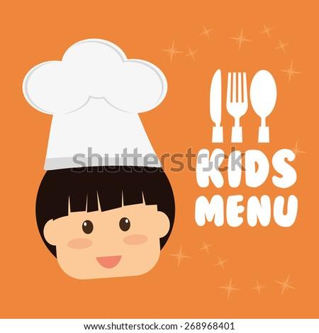 Kids menu design over orange background, vector illustration. - stock vector