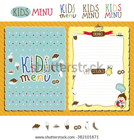 Kids menu. Kids menu template. Kids food. Kids meal. Kids restaurant. Colorful kids meal menu. Blank menu for kids. Blank kids cafe menu concept. Baby, yummy. Baby menu template. Childish cafe menu. - stock vector