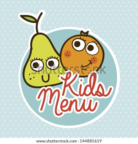 kids menu over dotted background vector illustration - stock vector
