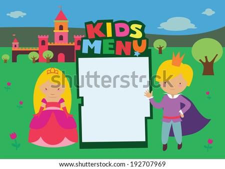 Kids Menu Royal Castle - stock vector