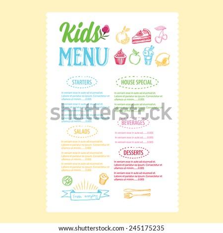 Kids menu. Vector template. - stock vector