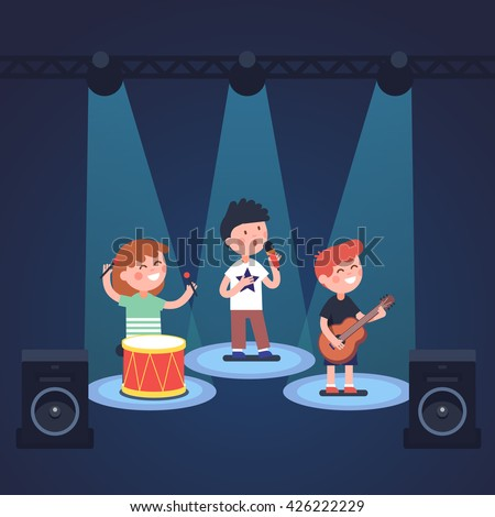Kids music band playing and rocking at spot light lit stage festival. Glowing young stars. Modern flat style vector illustration cartoon clipart. - stock vector