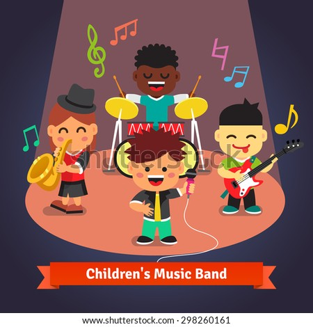 Kids music band playing and singing in spotlight light on stage. Soloist, drummer, sax and guitarist characters. Flat vector cartoon illustration. - stock vector
