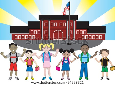 Kids of all ages and races in front of school with their backpacks on. - stock vector