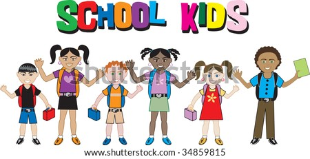 Kids of all ages and races ready for school with their backpacks on. - stock vector