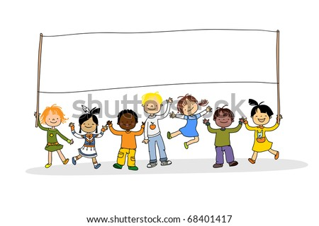 kids of different ethnicity with blank banner, grouped and layered for easy editing - stock vector