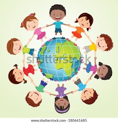 Kids of the world. Europe globe. - stock vector