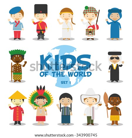 Kids of the world vector illustration: Nationalities Set 1. 12 characters in national costumes (France, Russia, Greece, Scotland, Algeria, Congo, Iraq, China, Amazon, Guatemala, Colombia and Maori). - stock vector