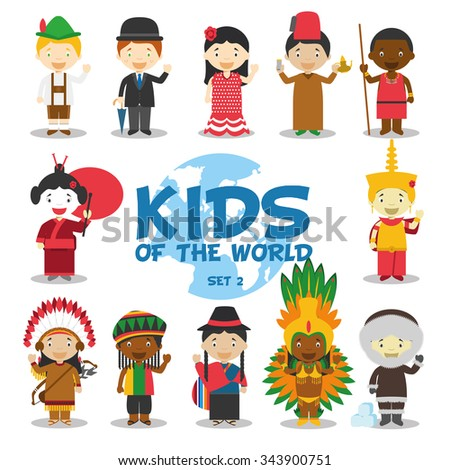 Kids of the world vector illustration: Nationalities Set 2. 12 characters in national costumes (Germany, UK, Spain, Morocco, Kenya/Masai, Japan, Cambodia, USA, Jamaica, Ecuador, Brazil and Greenland). - stock vector