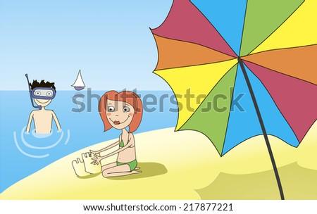 kids on the beach - stock vector