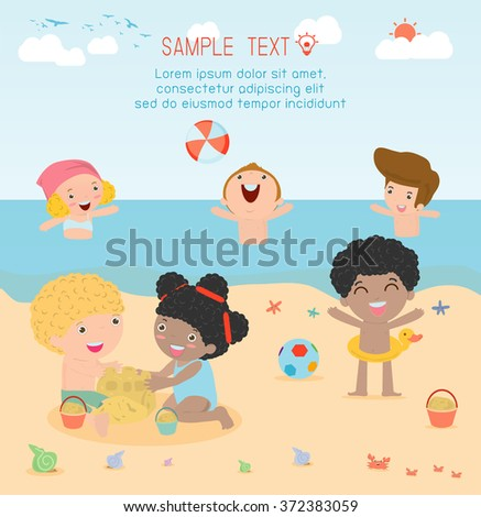 kids on the beach , children playing on the beach, Happy kids building sand castles and playing beach ball,children's summer activities, Vector Illustration. - stock vector