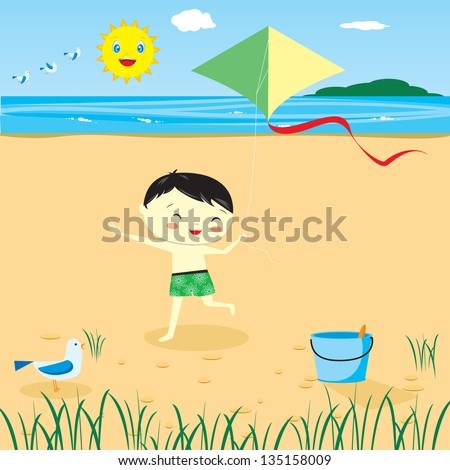 Kids on the beach. fun summer sun  vector