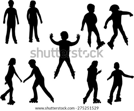 kids on the rollers vector silhouettes