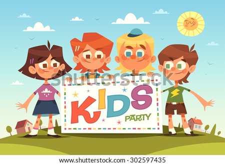 Kids party. Cartoon background. Vector illustration. - stock vector