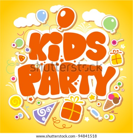 Kids Party design template. - stock vector