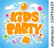 Kids Party design template, invitation card vector illustration - stock vector