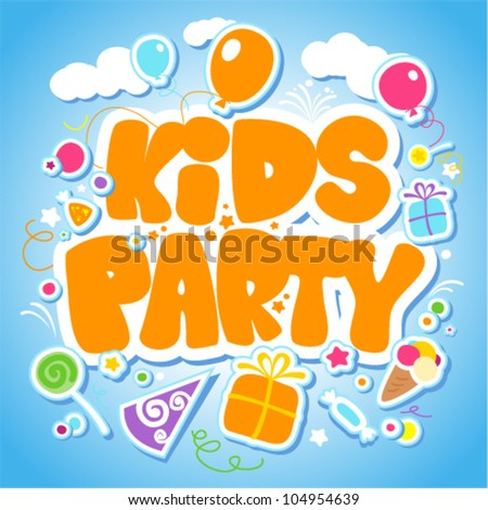 Kids Party design template, invitation card vector illustration