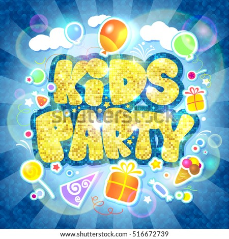 Kids party vector design, invitation card mock up with golden title, rays of light, balloons, bubble, gifts and ice-cream