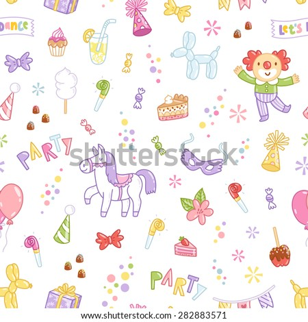 Kids party vector seamless pattern - stock vector