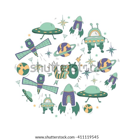 Kids pattern with space hand drawn symbols: UFO, flying saucer, rocket, robot, planets, stars. Pattern for boys - stock vector