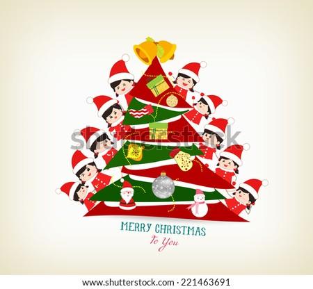 kids peeping behind christmas tree - stock vector