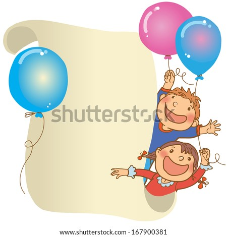 Kids peeping behind placard. Happy Girl and Boy.Back to School isolated objects on white background. Great illustration for a school books and more. VECTOR. Editorial. Education. Advertising. Board. - stock vector
