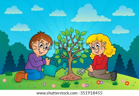 Kids planting tree theme image 3 - eps10 vector illustration.