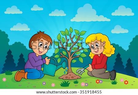 Kids planting tree theme image 3 - eps10 vector illustration. - stock vector
