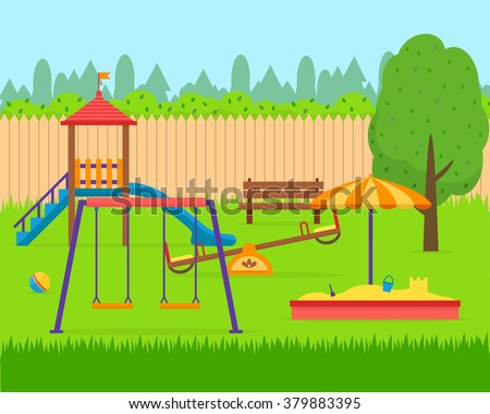 Kids playground. Buildings for city construction. Set of elements to create urban background, village and town landscape.  Flat style vector illustration. - stock vector