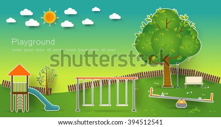 Kids playground. Buildings for city construction. Set of elements to create urban background, village and town landscape pop up paper cut style, Vector illustration - stock vector