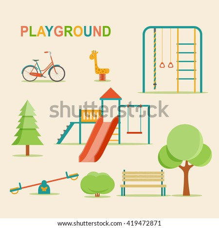 Kids playground, city park set. Kindergarten playground with swings, slide, rope, toy giraffe.Vector flat illustration. - stock vector