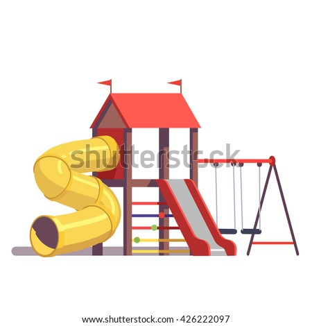Kids Playground Equipment Swings Slides Tube Stock Vector ...