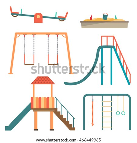 Kids playground flat cartoon set with swing carousels slides and stairs isolated vector illustration