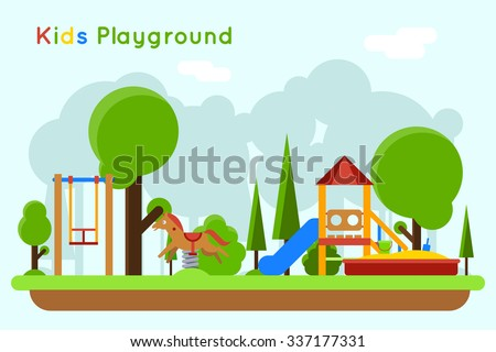 Kids playground flat concept background. Slide outdoor, sand and childhood, vector illustration