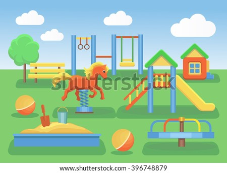 Kids playground flat concept background. Slide outdoor, sand and childhood, vector illustration - stock vector