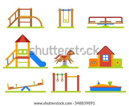 Kids playground flat icons set. Slide and swing, equipment for kindergarden sandbox and merry-go-round. Vector illustration - stock vector