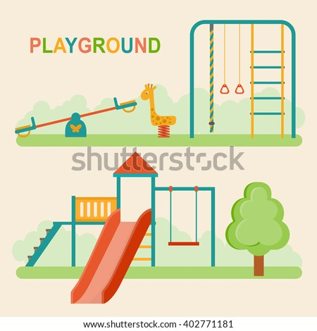 Kids playground.Kindergarten playground with swings, slide, rope, toy giraffe. Vector flat illustration. - stock vector