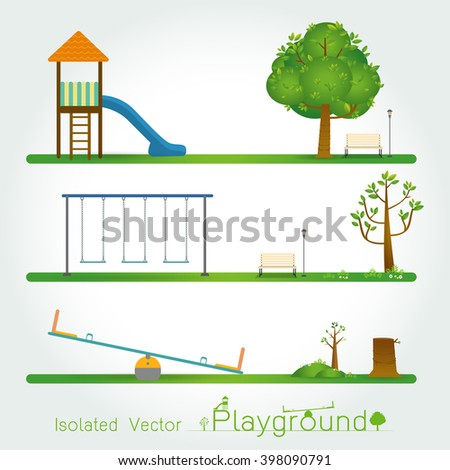 Kids playground set. Icons with kids swings and  isolate objects on white background ,Flat style  vector illustration. - stock vector